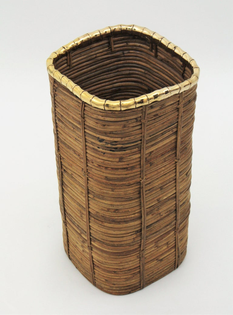 Rattan and Bamboo Umbrella Stand with Faux Bamboo Brass Rim, Italy, 1970s For Sale 3