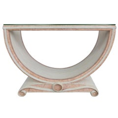Gabriella Crespi Style Reed and Faux Painted Marble Console Table or Dining Base