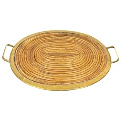 Gabriella Crespi style Serving Tray in Bamboo and Brass, Italy, 1970s