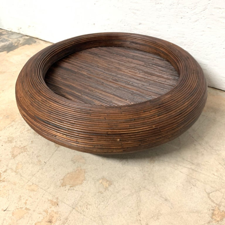 Split reed or rattan bamboo coffee table or cocktail table.
