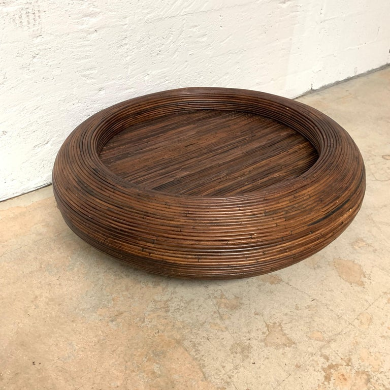 Mid-Century Modern Split Reed or Rattan Circular Coffee or Cocktail Table