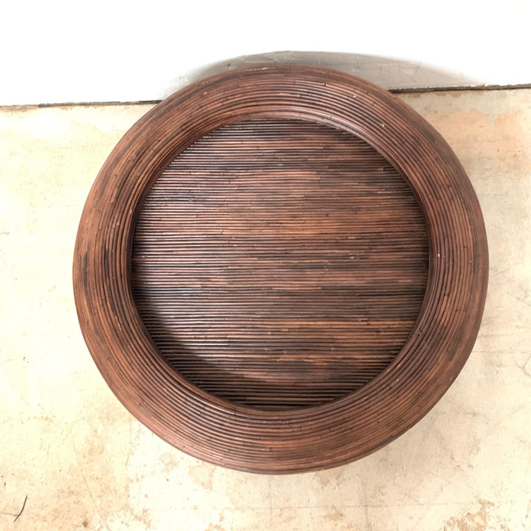 Split Reed or Rattan Circular Coffee or Cocktail Table In Good Condition In Miami, FL