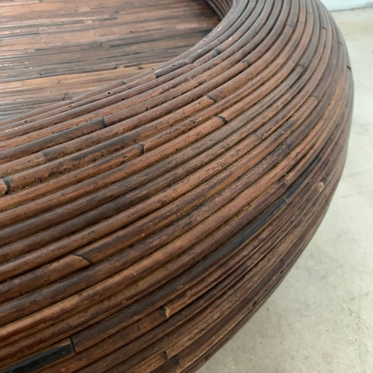 20th Century Split Reed or Rattan Circular Coffee or Cocktail Table