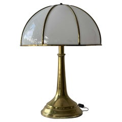 """Gabriella Crespi, Very Large """"Fungo"""" Table Lamp, Brass, Acrylic, Italy, 1970s"""
