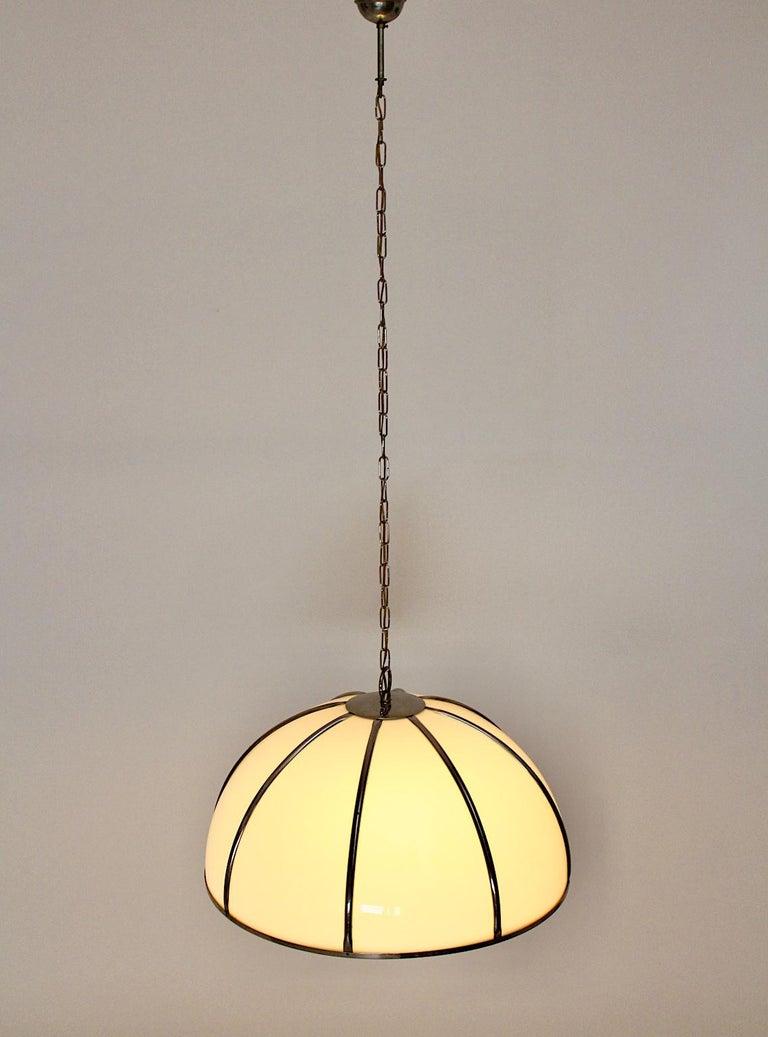 Gabriella Crespi Vintage Brass Nickel Plexiglass Chandelier Pendant Fungo, 1970s For Sale 4