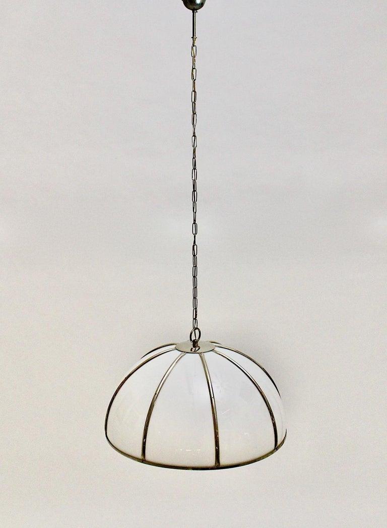 Gabriella Crespi Vintage Brass Nickel Plexiglass Chandelier Pendant Fungo, 1970s For Sale 6