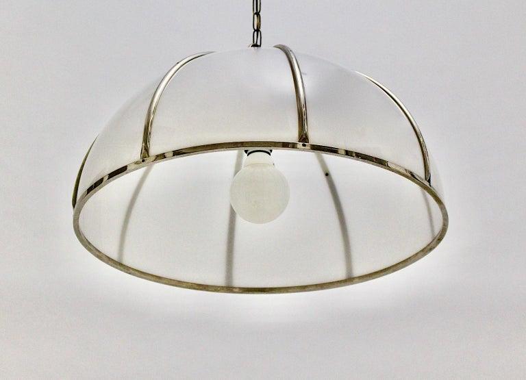 Gabriella Crespi Vintage Brass Nickel Plexiglass Chandelier Pendant Fungo, 1970s For Sale 7