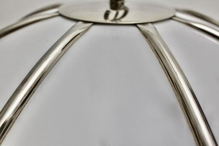 Gabriella Crespi Vintage Brass Nickel Plexiglass Chandelier Pendant Fungo, 1970s For Sale 8