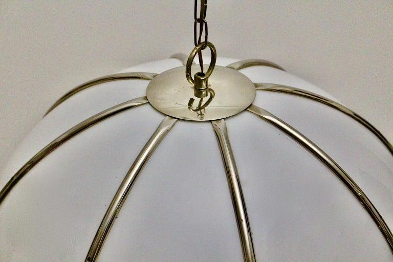 Gabriella Crespi Vintage Brass Nickel Plexiglass Chandelier Pendant Fungo, 1970s For Sale 13