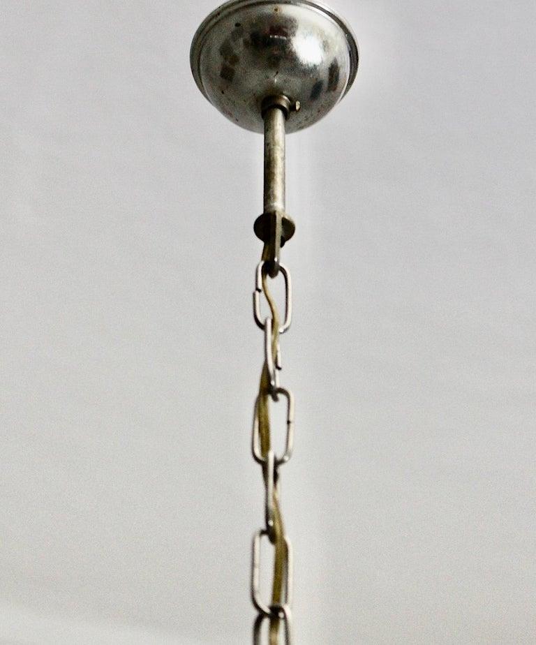 Gabriella Crespi Vintage Brass Nickel Plexiglass Chandelier Pendant Fungo, 1970s For Sale 14
