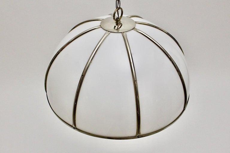 Mid-Century Modern Gabriella Crespi Vintage Brass Nickel Plexiglass Chandelier Pendant Fungo, 1970s For Sale
