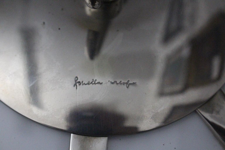 Gabriella Crespi Vintage Brass Nickel Plexiglass Chandelier Pendant Fungo, 1970s For Sale 1