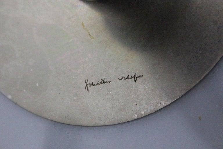 Gabriella Crespi Vintage Brass Nickel Plexiglass Chandelier Pendant Fungo, 1970s For Sale 2