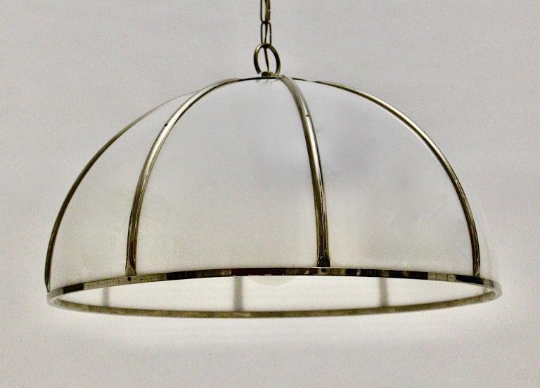 Gabriella Crespi Vintage Brass Nickel Plexiglass Chandelier Pendant Fungo, 1970s For Sale 3