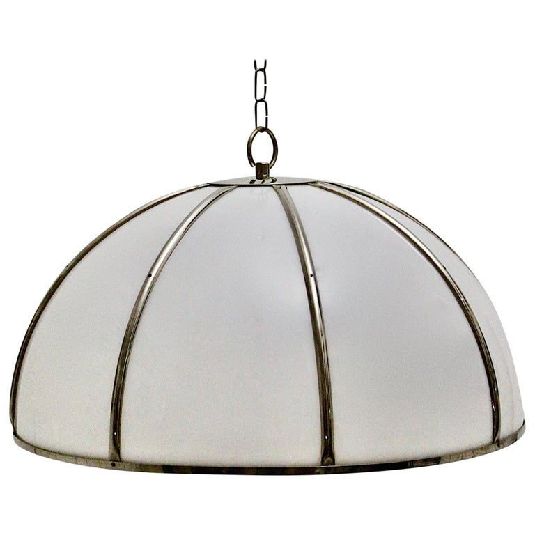 Gabriella Crespi Vintage Brass Nickel Plexiglass Chandelier Pendant Fungo, 1970s For Sale