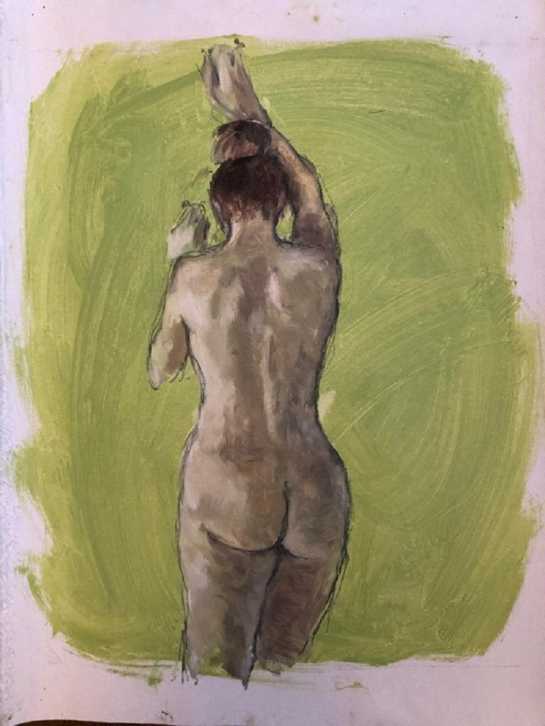 Gabriella Moulding, Nude in Lime, Original figurative painting