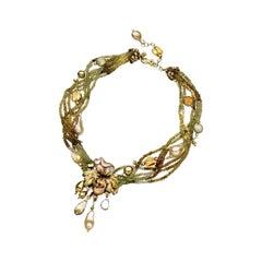 Gabriella Rivalta Peridot, Tahiti Pearl, Quartz Multifilament Necklace