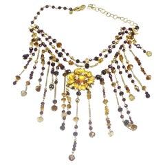 Gabriella Rivalta Quartz Citrine Garnets Diamond Enameled Flower Necklace