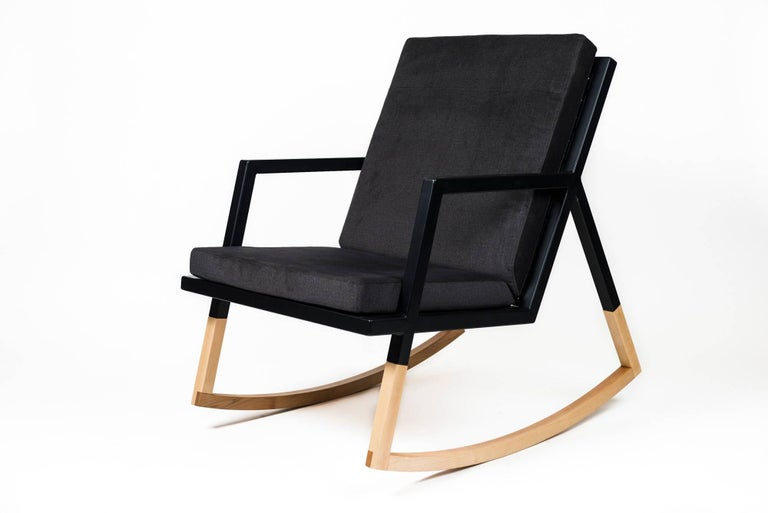 Modern Gabriella Rocking Chair by Ambrozia, Maple, Black Steel & Dark Gray Upholstery For Sale