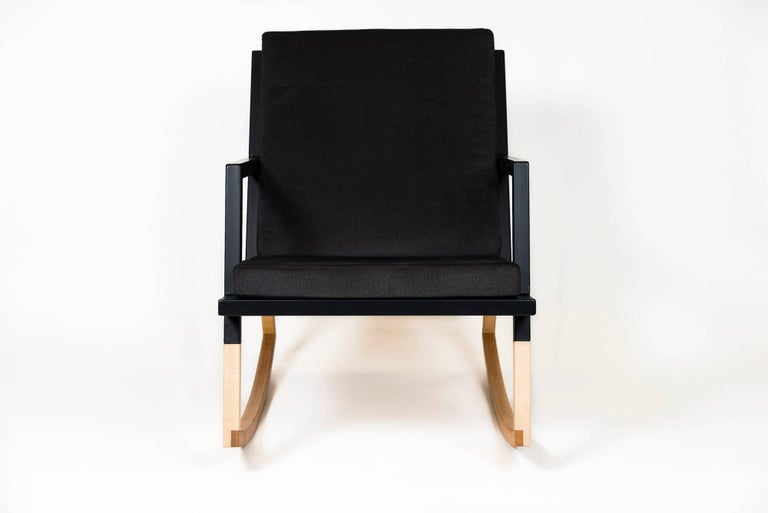 Hand-Crafted Gabriella Rocking Chair by Ambrozia, Maple, Black Steel & Dark Gray Upholstery For Sale