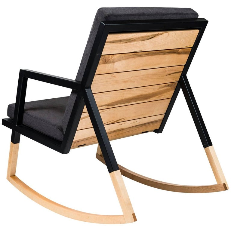 Gabriella Rocking Chair by Ambrozia, Maple, Black Steel & Dark Gray Upholstery For Sale