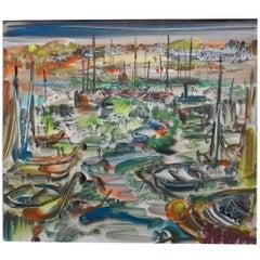 Gabrielle Bouffay, Saint Tropez. Watercolor Gouache, circa 1970