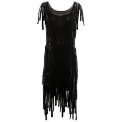 Gabrielle Chanel couture black silk beaded flapper dress, c. 1924 - 1926