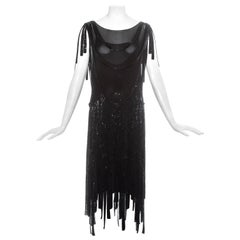 Gabrielle Chanel Haute Couture black silk beaded flapper dress, c. 1926