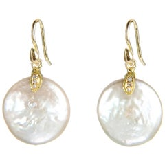 Gabrielle Sanchez Freshwater Coin Pearl and 18 Karat Diamonds Earrings