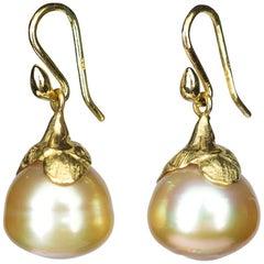 Gabrielle Sanchez Petal Cap Karat Golden South Sea Earrings
