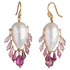 Gabrielle Sanchez South Sea Pearl and Ombre Pink Tourmaline 18k Fringe Earring