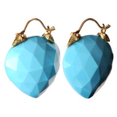 Gabrielle Sanchez Turquoise 18 Karat Beak Flyer Earrings