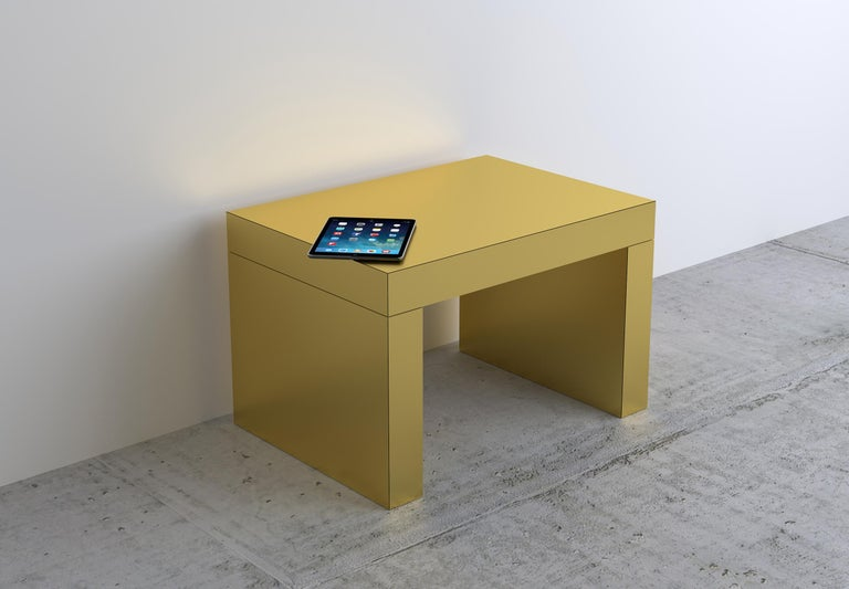 Other Contemporary Bench/Coffee Table Brushed Gold Gaby Aluminium by Chapel Petrassi For Sale