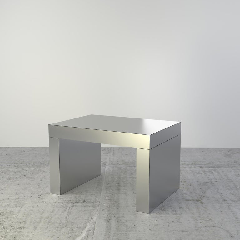 Laminated Contemporary Bench/Coffee Table Brushed Gold Gaby Aluminium by Chapel Petrassi For Sale