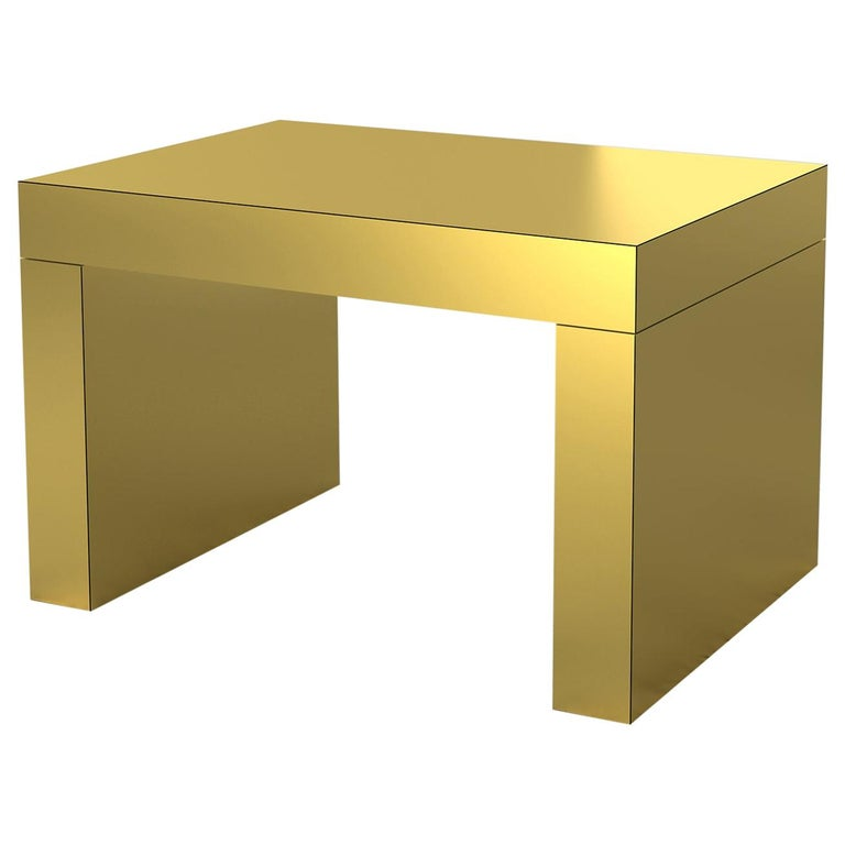 Contemporary Bench/Coffee Table Brushed Gold Gaby Aluminium by Chapel Petrassi For Sale