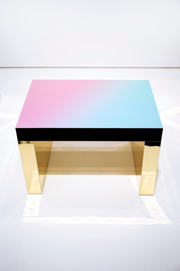 Gradient Bench/Coffee Table Light Blue-Rose Gaby Aluminium by Chapel Petrassi In New Condition For Sale In Le Perreux-sur-Marne, FR