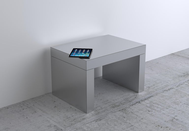 Laminated Contemporary Bench/Coffee Table Gaby Aluminium by Chapel Petrassi For Sale