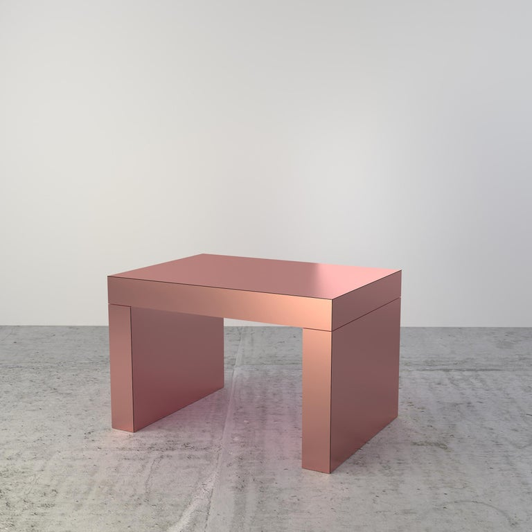 Laminated Contemporary Bench/Coffee Table Sand Bronze Gaby Aluminium by Chapel Petrassi For Sale