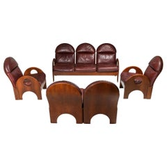 "Gae Aulenti ""Arcata"" Living Room Set in Walnut and Burgundy Leather, 1968"