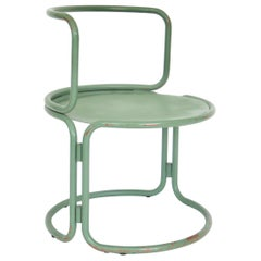 Gae Aulenti Attributed Locus Solus Style Italian Tubular Metal Green Side Chair