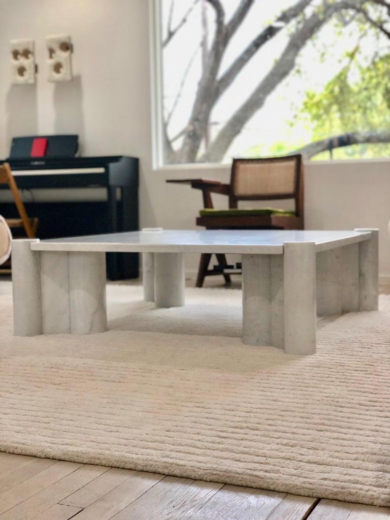 Italian Gae Aulenti Carrara Marble Table For Sale