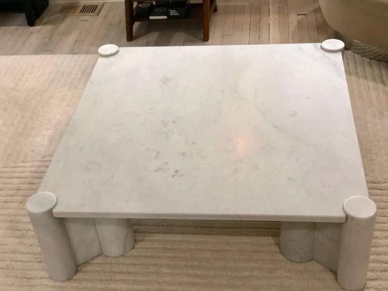 Gae Aulenti Carrara Marble Table In Good Condition For Sale In Los Angeles, CA