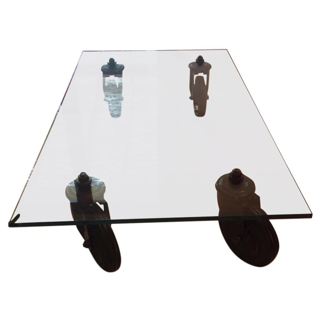 Gae Aulenti Coffee Table Fontana Arte Cristal Top and Stem Wheels
