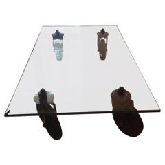 Gae Aulenti Coffee Table Fontana Arte Cristal Top and Stem Wheels
