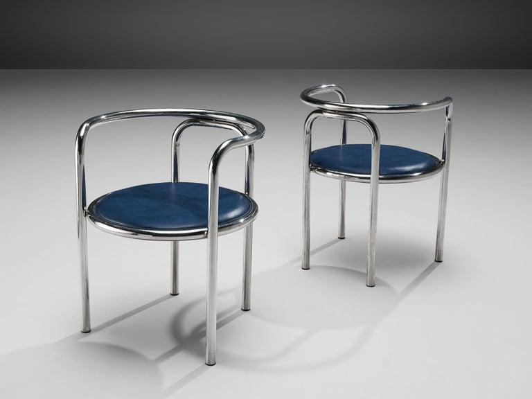 Mid-Century Modern Gae Aulenti Early 'Locus Solus' Tubular Armchairs For Sale