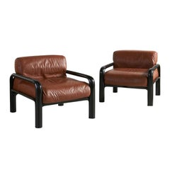 Gae Aulenti for Knoll Cognac Leather Lounge Chairs with Black Frame