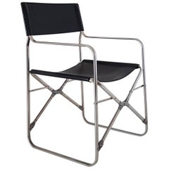 Gae Aulenti Italian Black Cowhide Folding Chair with Stainless Steel Frame, 1964