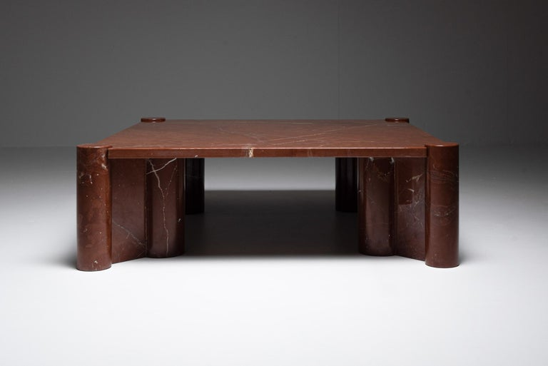 Post-Modern Gae Aulenti 'Jumbo' Coffee Table in Rare Rosso Collemandina Marble For Sale