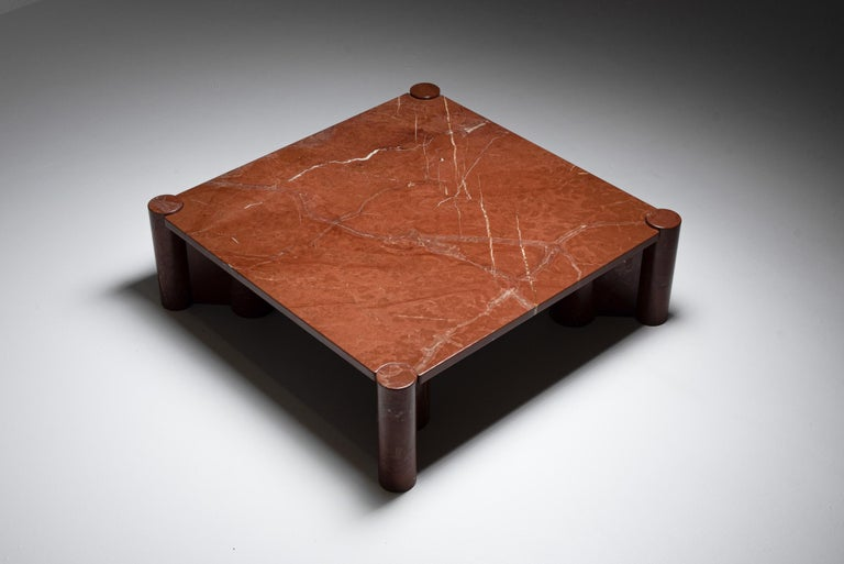 Italian Gae Aulenti 'Jumbo' Coffee Table in Rare Rosso Collemandina Marble For Sale