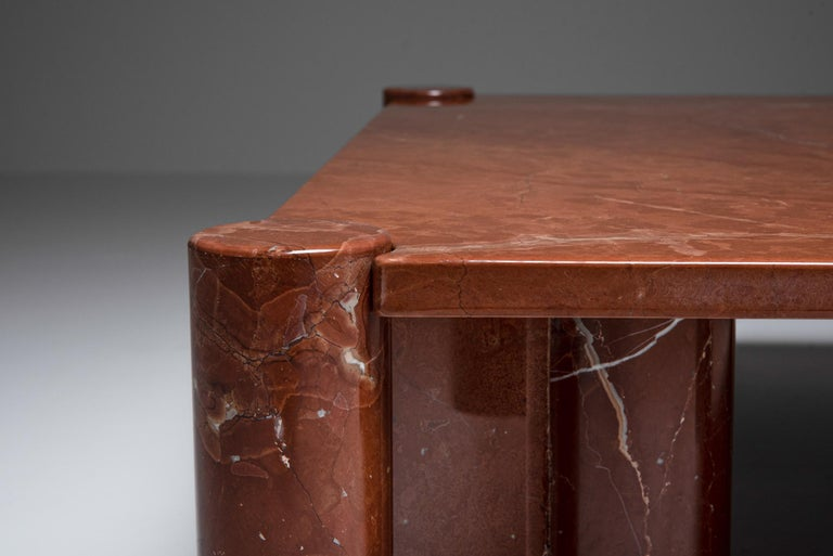 20th Century Gae Aulenti 'Jumbo' Coffee Table in Rare Rosso Collemandina Marble For Sale